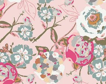 Garden Rocket - Bachelorette Fusions - Art Gallery - Floral pink - Jersey KNIT cotton lycra stretch fabric - choose your cut