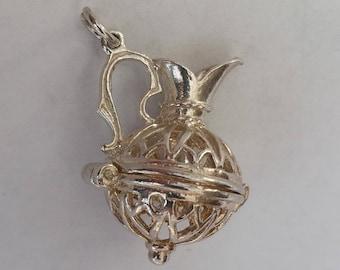 Silver Filgree Water Jug Necklace or Charm - Large, Vintage Opening Wine Carafe Bracelet Charm or Pendant