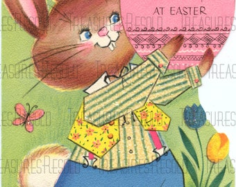 Bunny Rabbit With Easter Egg Easter Card #648 Digital Download