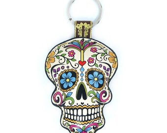 Leather  Sugar Skull, Day of the Dead, Dia de Muertos Keychain, Keyring, Bag Charm, Mexican Skull