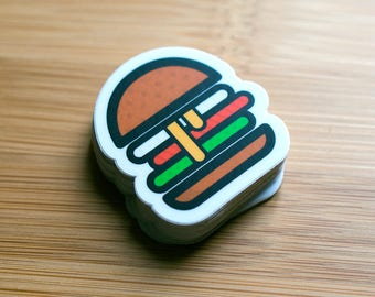 Burger Sticker, Burger Decals, Cool Food Stickers, Cool food decals, Small burger Stickers, food stickers, sticker for laptop, Food