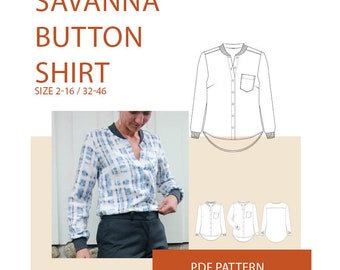 Tunic PDF sewing patternlwomen's button front Shirt PDF sewing pattern|ladies top blouse PDF sewing pattern|womens woven shirt pattern|