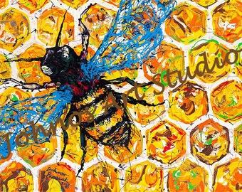 Save the Bees, Bee art, Bug painting, modern wall art, Honey Bee Print by Pittsburgh artist Johno Prascak