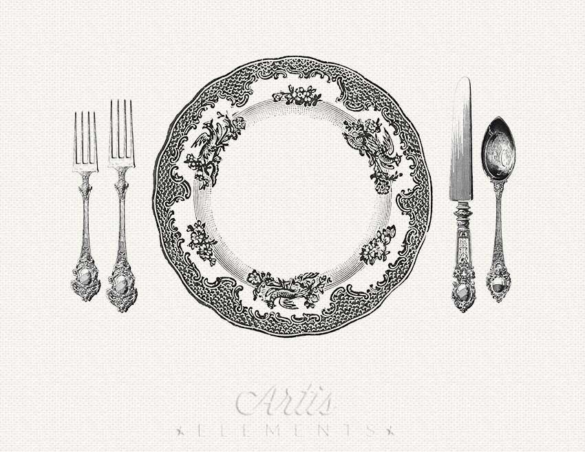 Printable Place Setting Dinner Plate Knife Fork Spoon