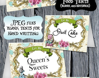 ALICE IN WONDERLAND Food Tents, Alice in Wonderland Food Labels, Alice Editable Tents, Printable Food Tent, Alice Birthday Party, Digital