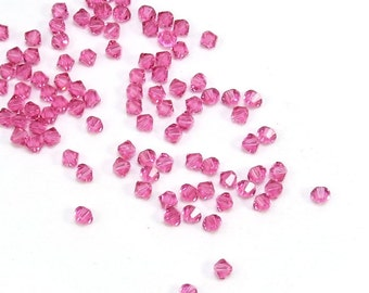 Swarovski Crystal 4mm Bicones, 24 Rose Pink 4mm Bicone Glass Beads, High Quality Bicones, Item 193B