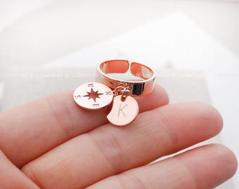 Personalized Compass ring, Custom Initial Disc ring, Rosegold ring, Best friend ring, personalized Jewelry, Initial Ring, compass jewelry