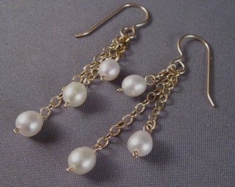 Pearl Dangling Earrings by Bead-Jewelled 14K GF Triple Strand Freshwater Pearls Bridal/Wedding Jewelry