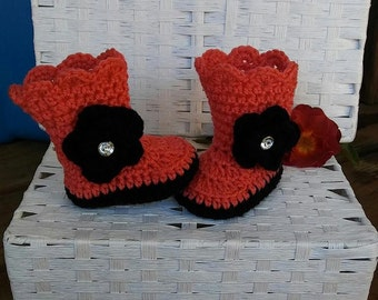 Newborn girl boots, crochet baby girl booties, baby boots, baby booties, baby shoes, winter boots, newborn boots, orange, baby girl boots