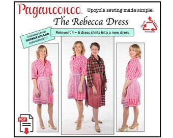 Sewing Pattern, PDF Sewing Pattern for Women, Rebecca Dress with Double Collar - Create woman's dress from shirts! Repurpose, Eco-friendly