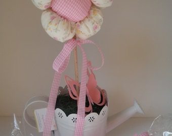 Fabric flower on wooden dowel  (set of 3) - baptism, party decoration