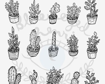 Cactus Clip Art - set of 15 plants