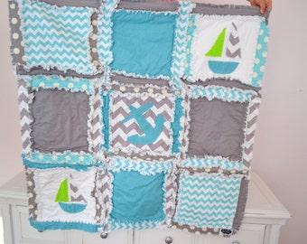 Nautical Baby Quilt - Turquoise / Gray Anchor Baby Blanket - Boy Baby Blanket Mini Crib Quilt - Baby Boy Quilt - Blue Crib Bedding
