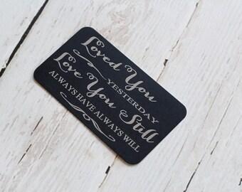 Engraved Wallet Card Anniversary Gift Wedding Gift Keepsake Love Note Wallet Card Valentines Gift DownInTheBoondocks