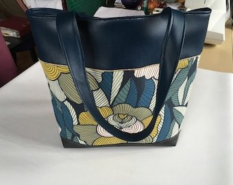 Large tote bag, purse, woman, canvas tote bag blue, Midnight Blue faux leather, black, exclusive