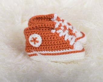 Orange and white Crochet Sneaker Booties - Crochet Booties - Baby Shower Gift - Unique Baby Gift - New Baby Gift