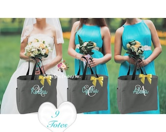 9 bridesmaid tote bags , bridesmaid gifts , tote bag , beach bag , bachelorette party gift ,wedding bag , maid of honor , flowergirl