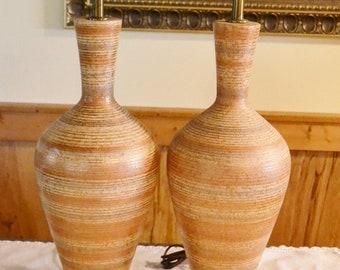 Vintage Ceramic Table Lamp Pair Set of 2 Terracotta Earthy Colors Gold Bands Retro Vintage Lighting PanchosPorch