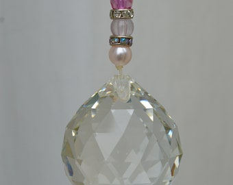 Pink and White hanging Crystal Suncatcher