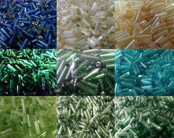 6mm x 2mm Bugle Seed Beads. Various Colours. Jewellery Making.