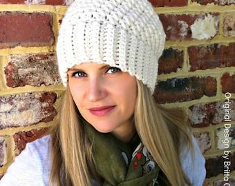Ribbsta Hat Pattern for women using chunky yarn - Slouchy Beanie Crochet Pattern No.230 Digital Download English