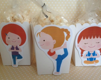 Cute Yoga Party Popcorn or Favor Boxes - Set of 10