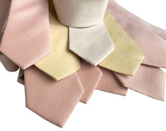 Linen Wedding Neckties. Set of 7 solid color linen ties. Groomsmen 10% discount. Silk & linen blend, select same or coordinating colors!
