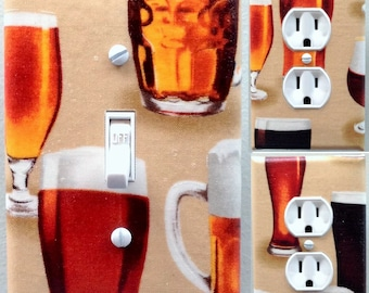 Beer mug light switch wall plate covers man cave or bar room decor