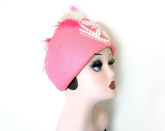 Vintage Pink Feather Straw Hat w/Beads~ Sylvia