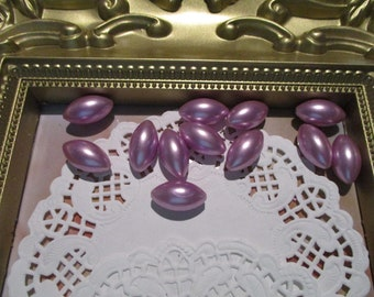 Vintage 18mm Navette Light Lilac Pearl Beads-Costume-Old Stock-Made in Japan