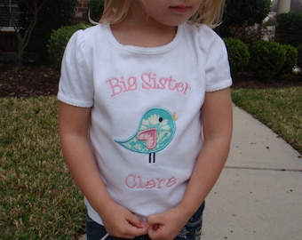 Big Sister Bird Shirt - Big Sister Shirt - Big Sis Shirt - Personalized Sibling Shirt - Birdie Shirt - Baby Shower Gift
