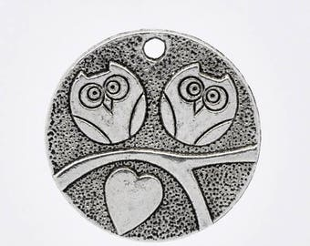 Set of 3 charms OWL couple heart in silver round (B23)