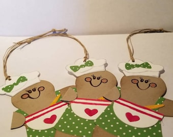 Handmade and hand die cut Gingerbread man/lady Baking Tags