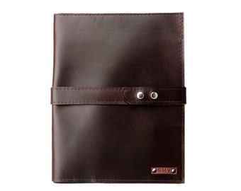 Large Executive Padfolio in Chocolate Brown Latigo Leather With Chocolate Brown Strap Made in the U.S.A. - EX-CHBR-EXPDF