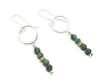 Silver Turquoise Earrings / Turquoise Dangle Earrings / Silver Boho Earrings