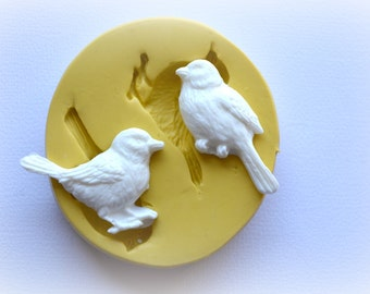 0358 Two Adorable Shabby Chic Birds Silicone Rubber Flexible Food Safe Mold Mould- jewelry, candy, fondant, resin, polymer clay, PMC, cakes
