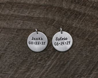 Name and Date, Hand Stamped Sterling Silver Disc