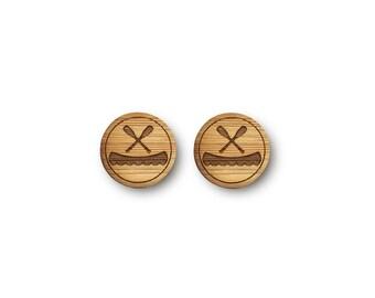 Mini Canoe and Paddles Earrings. Canoe Earrings. Wood Earrings. Stud Earrings. Laser Cut Earrings. Bamboo Earrings. Gifts For Her. Canoe.