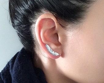 Ear Climber , Climber Earring , Ear Cuff , Feather Ear Climber , Gold Ear Climber ,  Gold Ear Pin , Ear Climber Ear Cuff , Climbing Earrings