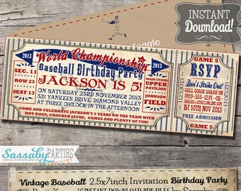 Vintage Baseball Birthday Invitation - INSTANT DOWNLOAD - partially Editable & Printable Birthday Ballgame Invite by Sassaby Parties