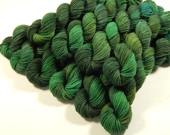 Mini Skeins, Hand Dyed Yarn, Sock Weight 4 Ply Superwash Merino Wool Yarn - Forest Multi - Indie Sock Yarn, Green Fingering Knitting Yarn