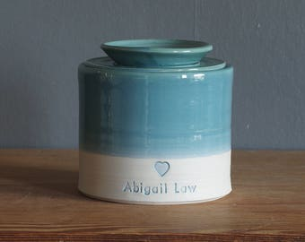 Medium Large Wide , Custom urn with lid. Handmade pottery pet urn, human ashes urn. turquoise / porcelain with paw stamp shown.