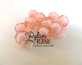Faceted acrylic bead 10 mm / pink / dusty rose