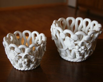 White Rope Ceramic Baskets - Hand Made in Italy