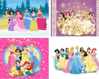 Lot Of 12 Disney Princess Fabric Panel Quilt Square Blocks