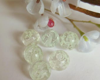 set of 6 fluorescent glass round beads