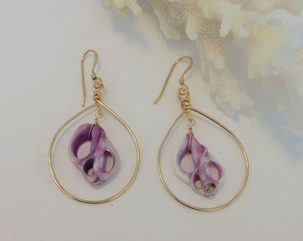 14kt Gold Filled Hoops Adorned with Purple Sliced Seashell