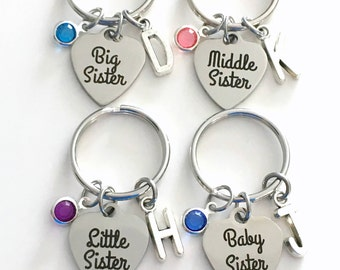 Baby, Big, Middle or Little Sister Keychain 1 2 3 or 4 Set Gift for Key Chain Keyring Birthstone Initial custom Christmas Birthday present