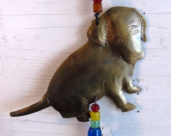 BRASS PUPPY Bead & Bell Hanging, Wind Chime-w/Rainbow Beads and Tuneful Noah Bell-For Children's Room, Outside Porch, Perfect For Dog Lovers