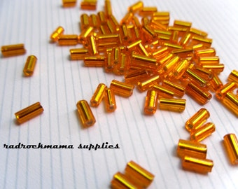 Orange Silver Lined 4.5mm Glass Bugle Beads   -H2B1-1